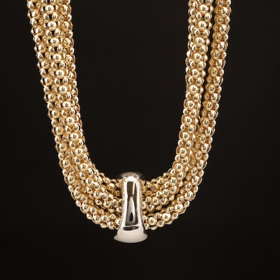 14K Triple Strand Popcorn Link Necklace