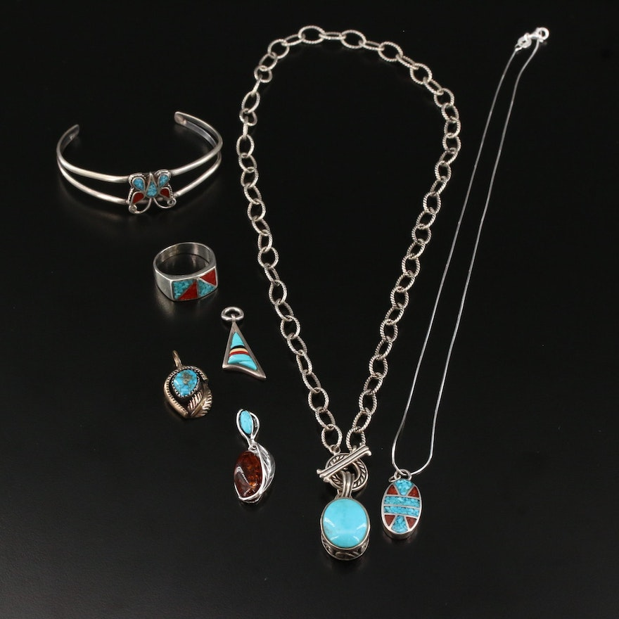 Western Style Sterling Silver Jewelry with Turquoise and Coral