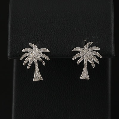 14K Diamond Palm Tree Stud Earrings