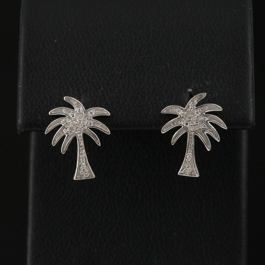 14K Diamond Palm Tree Stud Earrings