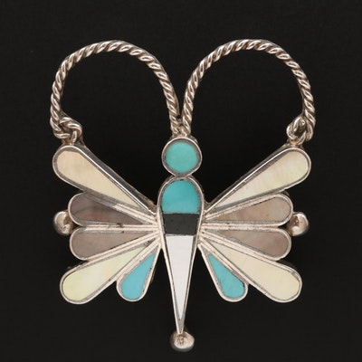 Southwestern Sterling Silver Dragonfly Brooch with Inlay