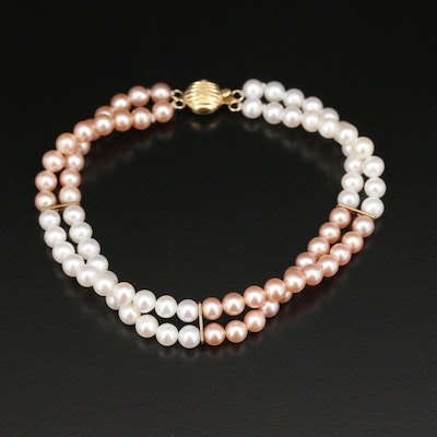 Pearl Double Strand Bracelet with 14K Accents