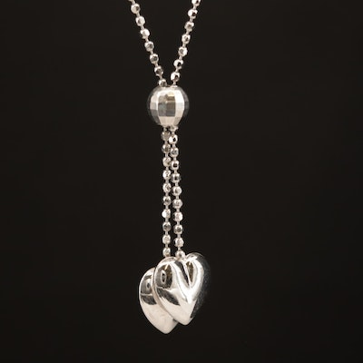 14K Double Heart Y Necklace with Beaded Chain