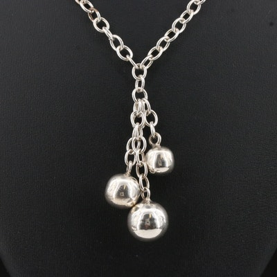 Sterling Silver Lariat Bead Necklace