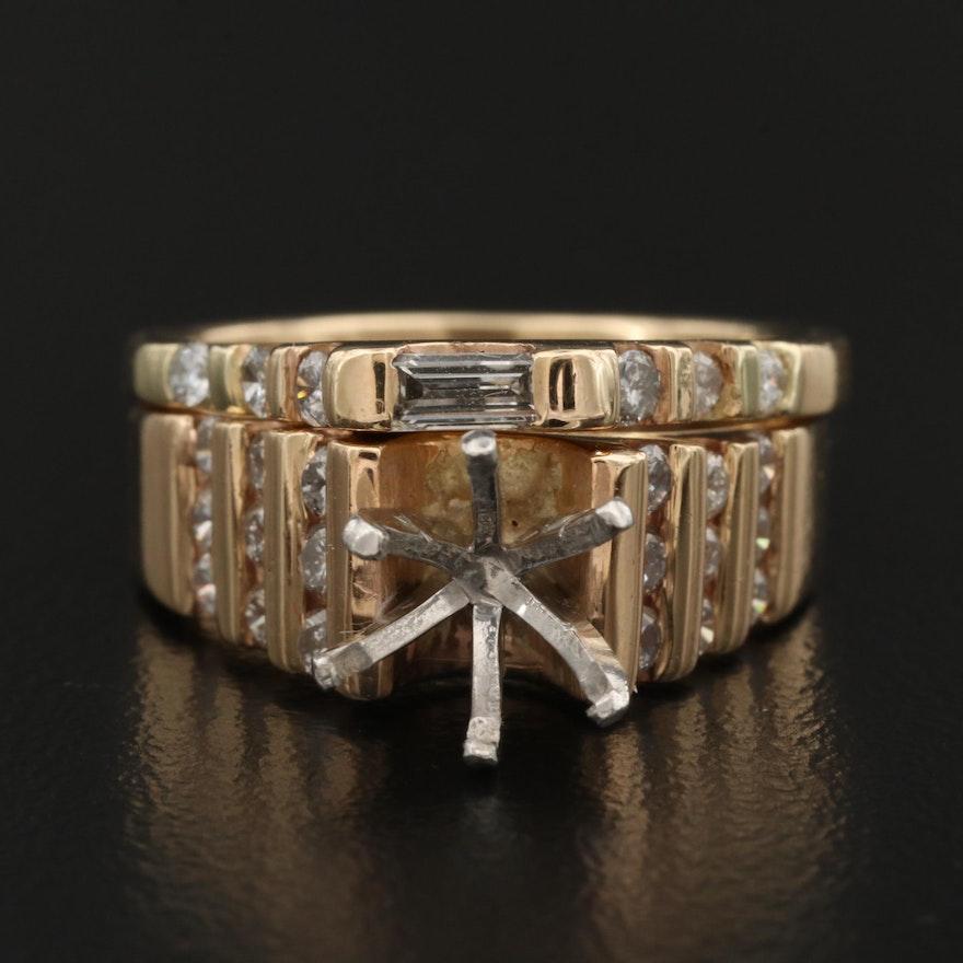 14K and Platinum Diamond Semi-Mount Ring and Band Set