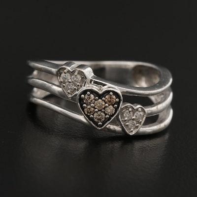 10K Diamond Triple Heart Ring