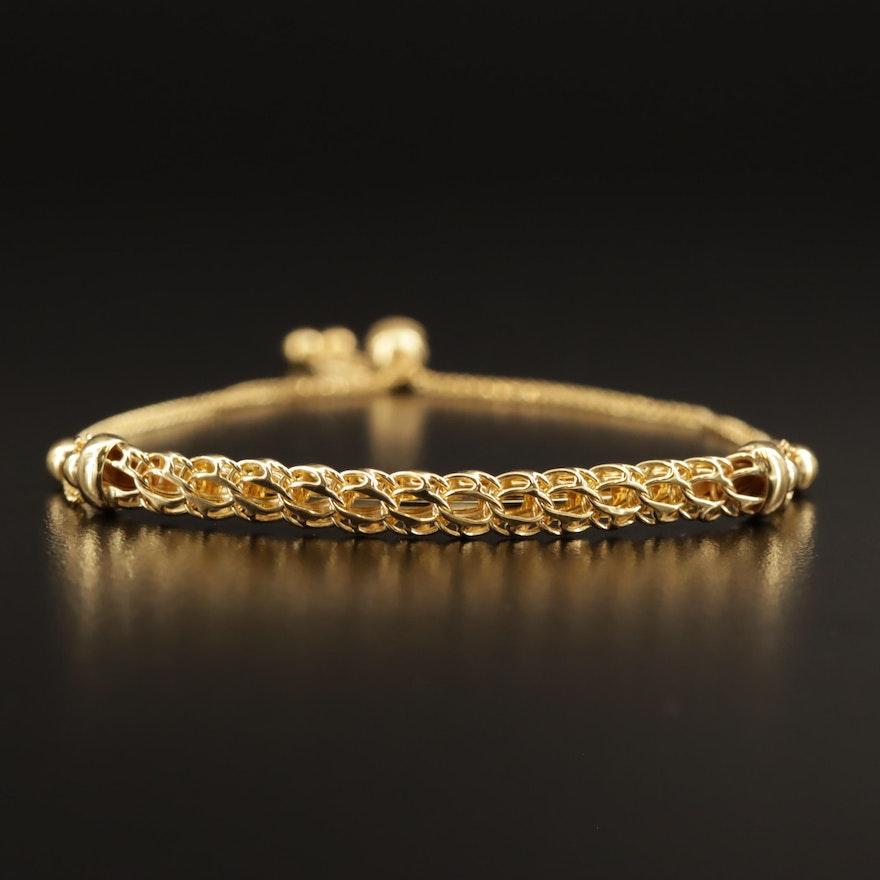 14K Fancy Link Bolo Bracelet