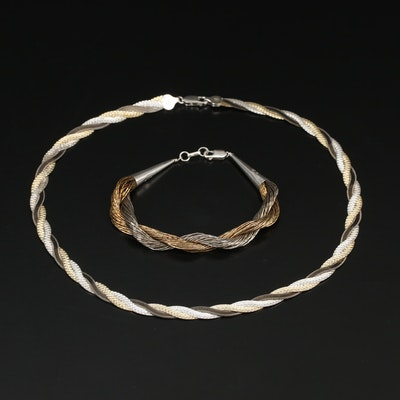 Sterling Silver Herringbone Necklace and Liquid Silver Bracelet