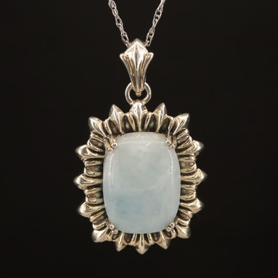 Sterling Aquamarine Enhancer Pendant Necklace
