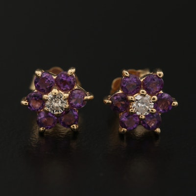 14K Diamond and Amethyst Stud Earrings
