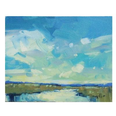 "Jose Trujillo Oil Painting ""Lemon Kissed Clouds"", 2015"