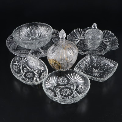 Oval Crystal Candy Dish, Cut Glass Cake Plate and Other Pressed Glass Serveware