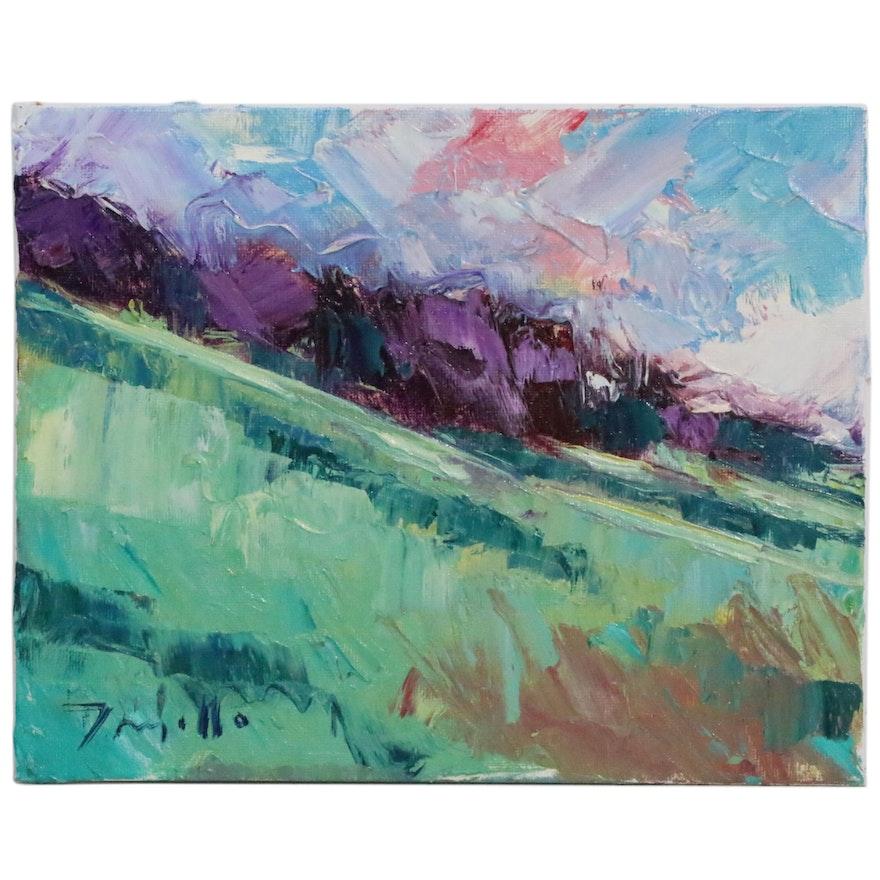 "Jose Trujillo Oil Painting ""Hillside Impressions,"" 2015"