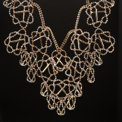 14K Two-Tone Diamond Cut Bib Necklace