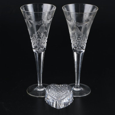"Waterford Crystal ""Millennium Peace"" Toasting Flutes and Heart Paperweight"