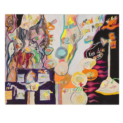 Robert W. Hasselhoff Mixed Media Painting of Surrealist Scene