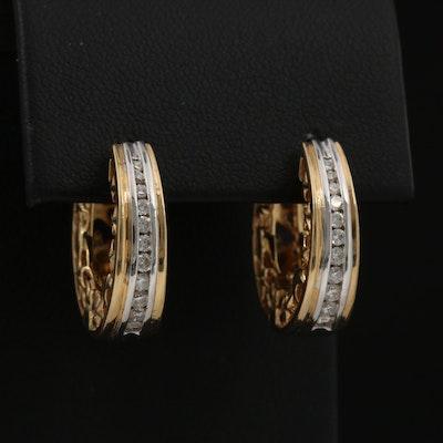14K Diamond Hinged Hoop Earrings with Moon and Star Pattern