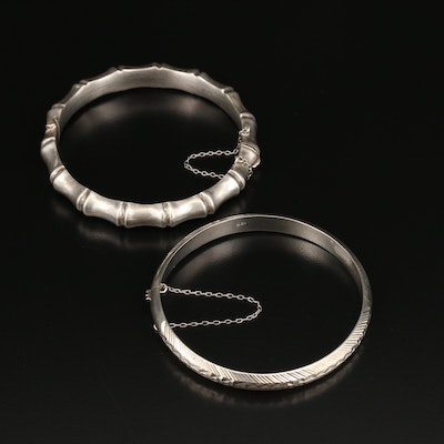 Sterling Hinged Bangles with Bamboo Motif and Bright Cut Accents