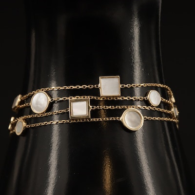14K Mother of Pearl Station Bracelet