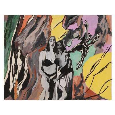 Robert W. Hasselhoff Mixed Media Painting of Abstract Female Figures