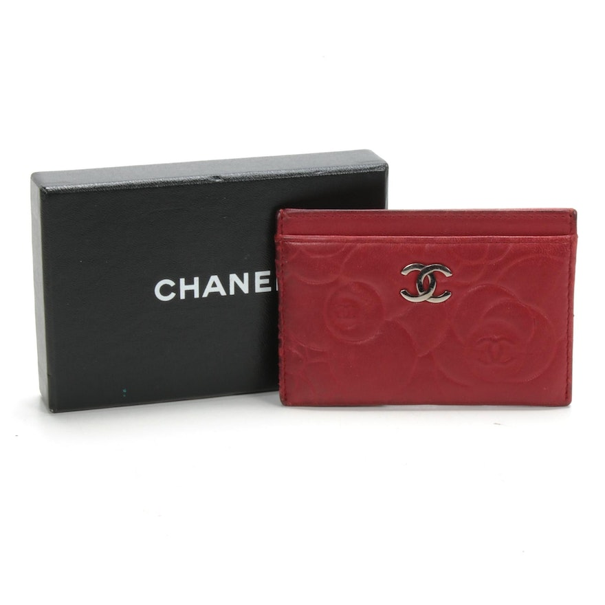 Chanel Red Camellia Lambskin Card Case