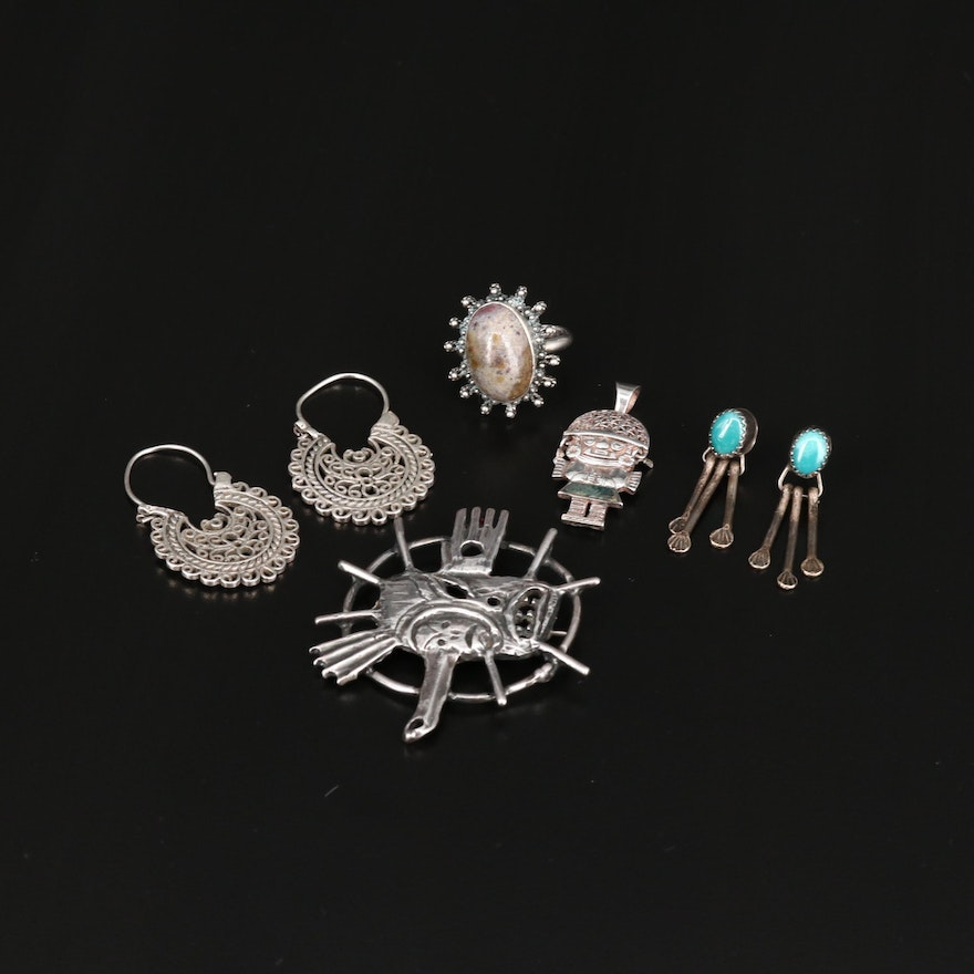 Sterling and 900 Silver Jewelry Featuring Jasper and Turquoise