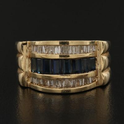 14K Blue Sapphire and Diamond Ring