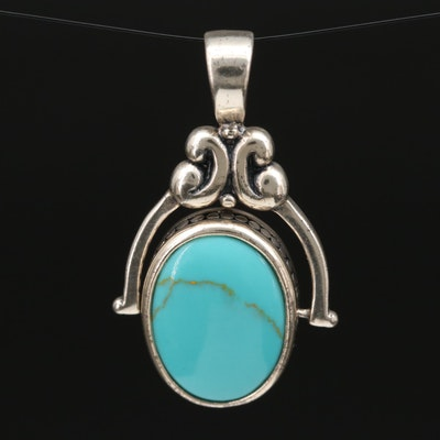 Sterling Silver Faux Turquoise and Faux Coral Reversible Pendant