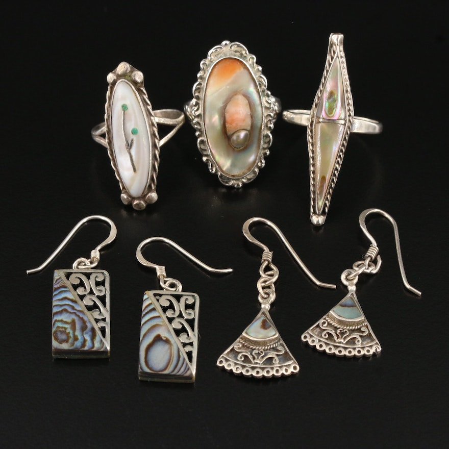 Sterling Earring and Ring Selection Featuring Mother of Pearl and Abalone