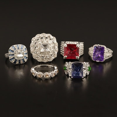 Assortment of Rhinestone, Enamel, and Plastic Rings
