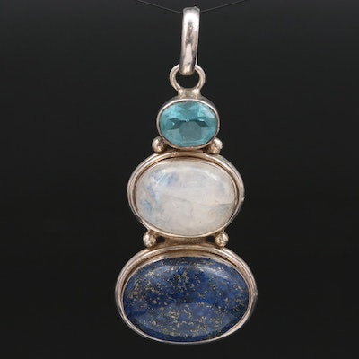 Sterling Silver Lapis Lazuli, Moonstone and Blue Glass Graduated Pendant