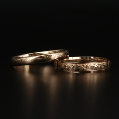 Vintage Etched Hinged Bangles Featuring Winard