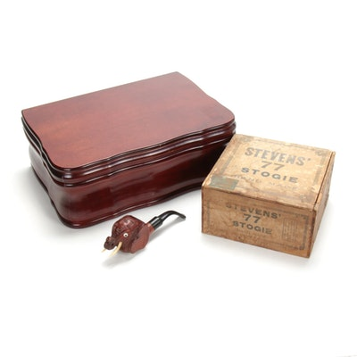 "Bruyere Garantie Elephant Pipe, ""Stevens' Stogie"" Box and Cigar Chest"