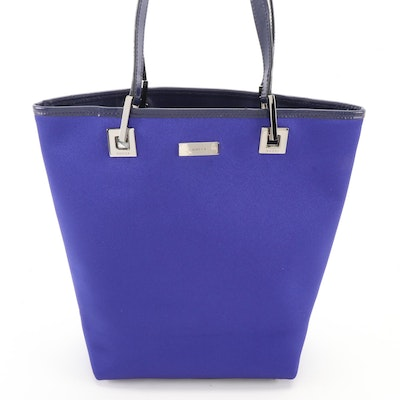 Gucci Small Bucket Tote Bag in Violet Blue Satin Fabric with Leather Trim