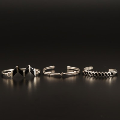 Bracelets Featuring Sterling Silver, Wave Design and Enamel Inlay