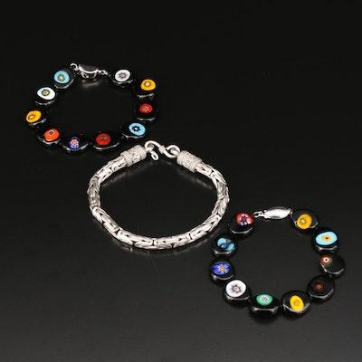 Sterling Silver Byzantine Link Bracelet with Millefiori Bead Bracelets