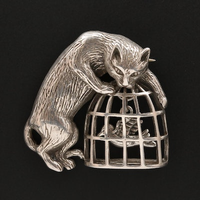 Vintage Sterling Silver Hunting Cat and Bird in a Cage Brooch