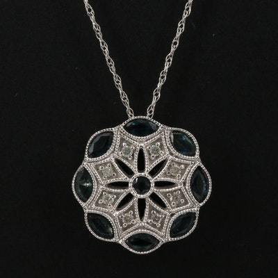 14K Sapphire and Diamond Milgrain Pendant Necklace