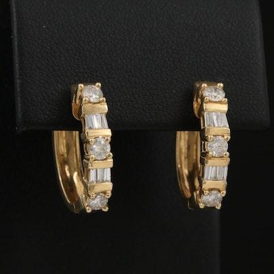 14K 1.02 CTW Diamond Oval Hoop Earrings