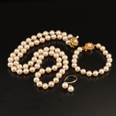 Faux Pearl Necklace, Bracelet, and Ring Jewelry Set