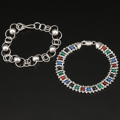 Sterling Silver and Gemstone Link Bracelets
