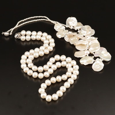 Pearl Necklace Selection Featuring Cornflake and Rice Pearls