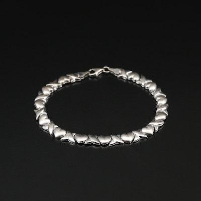 10K Heart Motif Link Bracelet