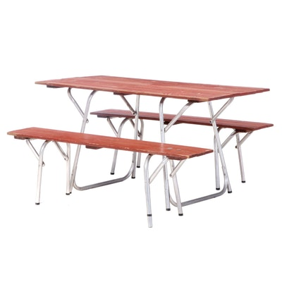 Red-Painted Wood and Aluminum Folding Picnic Table and Benches