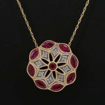 14K Ruby and Diamond Pendant Necklace