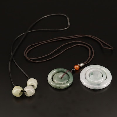 Carved Jadeite and Carnelian Necklaces and Pendant