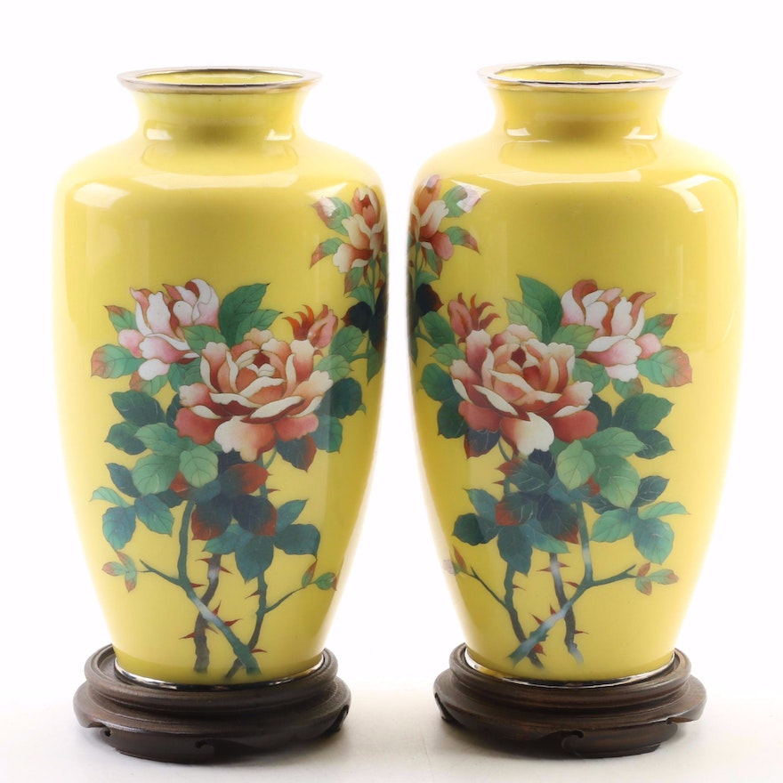 Floral Cloisonne Vases With Walnut Stands, Mid 20th Century