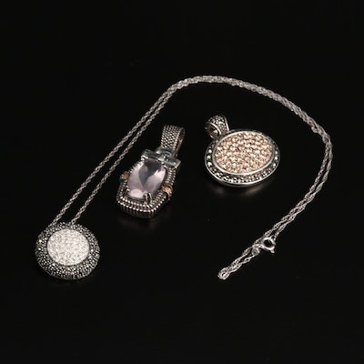Sterling Pendants and Necklace with 14K Accents, Rose Quartz and Marcasite
