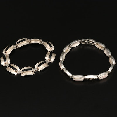 Sterling Silver Bracelets Including Pink Mother of Pearl and Taxco Mexico