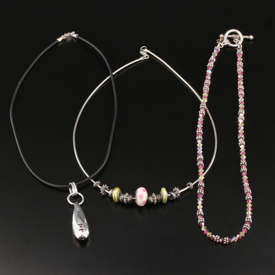 Sterling Silver Necklace Selection Featuring Pearl and Glass Accents